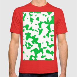 Large Spots - White and Dark Pastel Green T-shirt