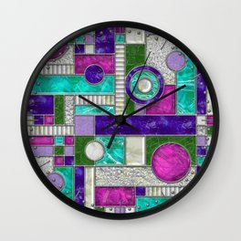 Stained Glass Window - Color Blocking - Pink Purple Blue Wall Clock