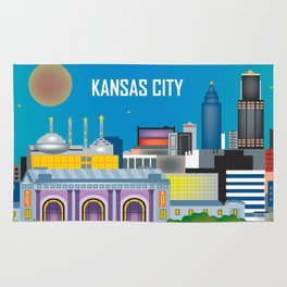 Kansas City, Missouri - Skyline Illustration by Loose Petals Rug