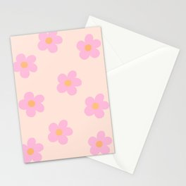Retro 60's Flower Power 4 Stationery Cards