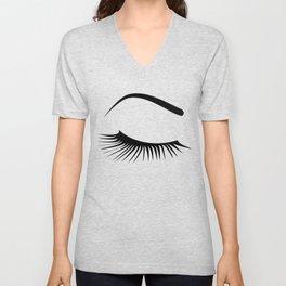 Closed Eyelashes Right Eye Unisex V-Neck
