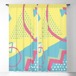 San Jose 1991 - Memphis Throwback Retro 1990s 80s Trendy Hipster Pattern Pastel Blackout Curtain