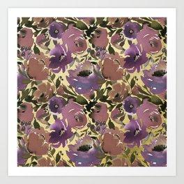 Soft Lilac Blossom and Foliage on Gold  Art Print