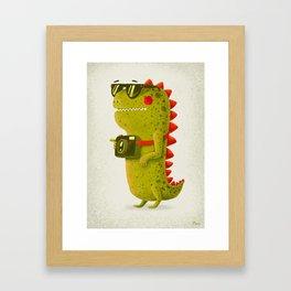 Dino touristo (olive) Framed Art Print