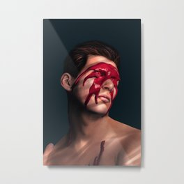 Red Splat Creative Realistic Portrait Metal Print