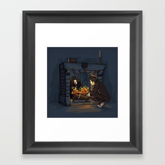 The Witch in the Fireplace Framed Art Print