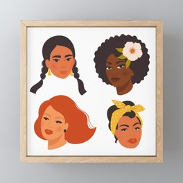 Different ethnic faces women Framed Mini Art Print