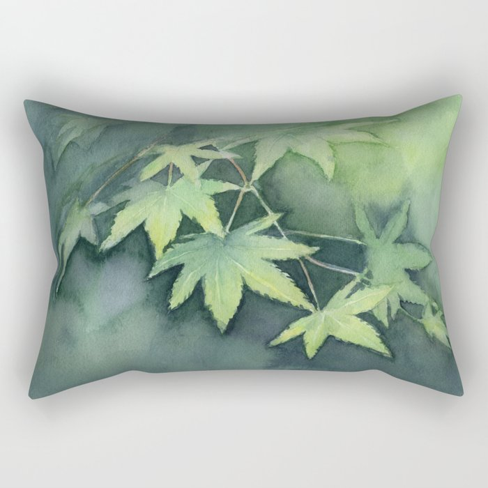 Japanese Maple Watercolor Green Leaves Tree Branch Nature Rectangular Pillow