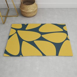 Riverbed Stones Minimalist Abstract Pattern in Light Mustard Yellow and Navy Blue Rug