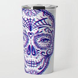 Sugar Skull (Calavera) Chromatic Aberration - Cyan Magenta Travel Mug