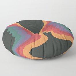 Rainbow Face, Retro 60s 70s Mid Century Modern Art Floor Pillow