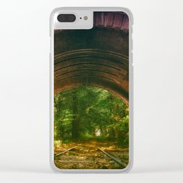 Railroad Track Through The Tunnel Clear iPhone Case