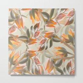 Orange Succulent Flowers Pastel Green Background #decor #society6 #buyart Metal Print
