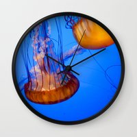 jelly fish Wall Clocks featuring Jelly Fish by World Photos by Paola