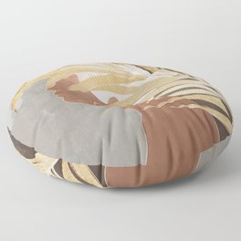 Woman with Golden Palm Leaf Floor Pillow