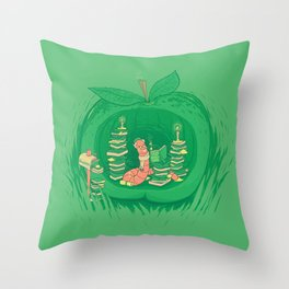 The Bookworm's Haven Throw Pillow