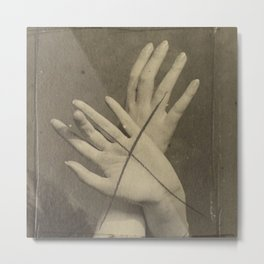 Hands in Sepia Metal Print