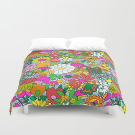 60's Groovy Garden in Blue Duvet Cover