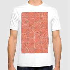 Red diagonals pattern MEDIUM White Mens Fitted Tee
