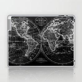 Black and White World Map (1795) Inverse Laptop & iPad Skin