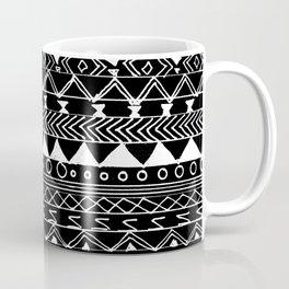 Artistic White black hand drawn aztec pattern Coffee Mug