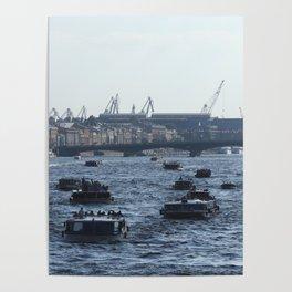 Huge water traffic on Neva River. Many passenger boats. Poster