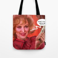 jessica lange Tote Bags featuring Don't fuck with the Lange by Sabuchan