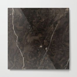 Brown Vein Marble Dark Brown Interior Coffee Home Decor Stone Minimal Design Metal Print