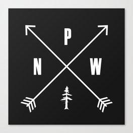 PNW Pacific Northwest Compass - White on Black Minimal Canvas Print