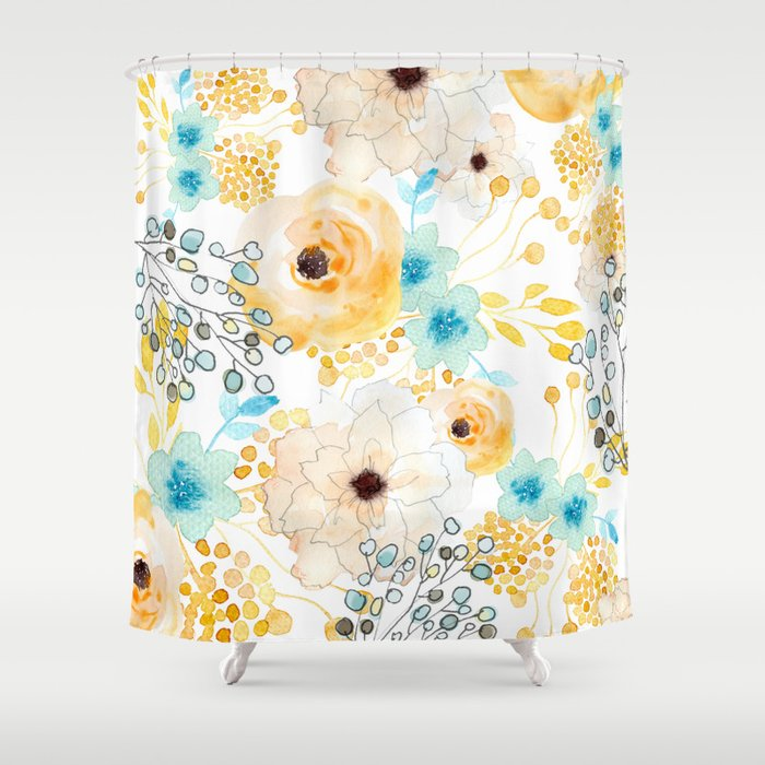 Blue And Yellow Floral Shower Curtain By Piplulu