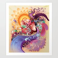 koi Art Prints featuring Koi by Nick La