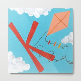 K is for Kite Metal Print