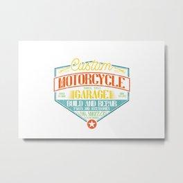 Retro Motorcycle Garage Sign Metal Print