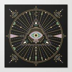 Evil Eye Mandala – Black Canvas Print