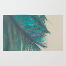 Turquoise Feather Abstract Rug