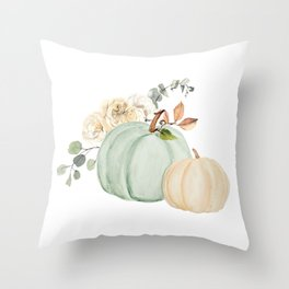 Blue and White Pumpkin Watercolor Floral Throw Pillow