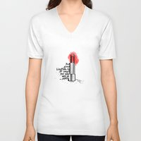 lipstick V-neck T-shirts featuring Lipstick by Studio Caravan