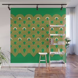 retro sixties inspired fan pattern in green and orange Wall Mural