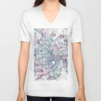 minneapolis V-neck T-shirts featuring Minneapolis map by MapMapMaps.Watercolors