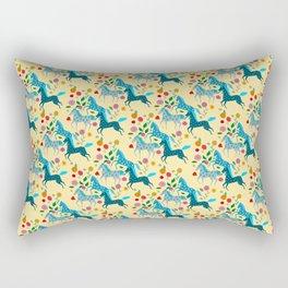 Blue Horses Pattern Rectangular Pillow
