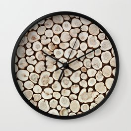 Background of wooden slices tree Wall Clock