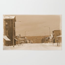 Old Main Street in the Snow Rug