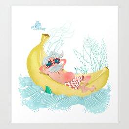 Chill on the banana Art Print