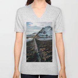 Icelandic black sand beach and mountain road - landscape photography Unisex V-Neck