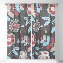 Bohemian Wild Flowers Spring Summer Floral Pattern Sheer Curtain