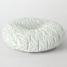 Light green herringbone pattern with cream stripes Floor Pillow