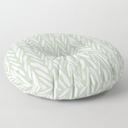 Light green herringbone pattern with cream stripes Floor Pillow