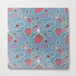 Strawberry Eggplant Pacifier~ Metal Print