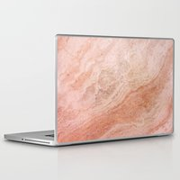 rose gold Laptop & iPad Skins featuring Polished Rose Gold Marble by pixel404