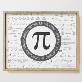 The Pi symbol mathematical constant irrational number, greek letter, and many formulas background Serving Tray